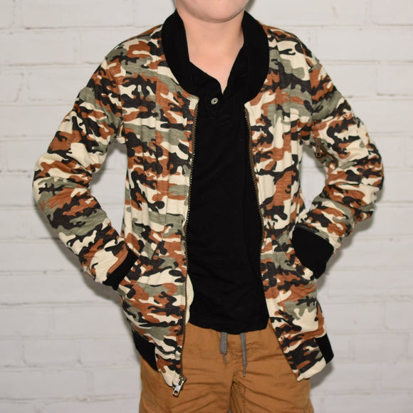 Camo Knit Bomber Jacket