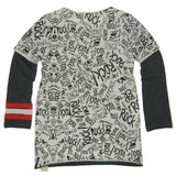 Mini Shatsu Graffiti Layered Shirt, Back