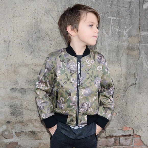 Moss Green Floral Bomber Jacket