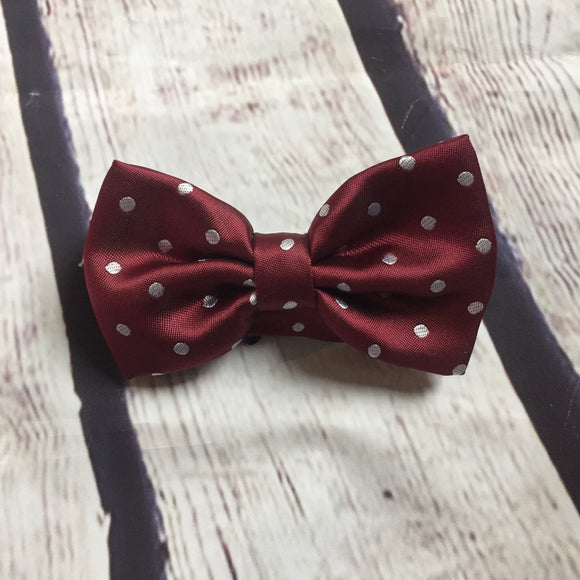 Boys Bow Tie - Burgundy Dot