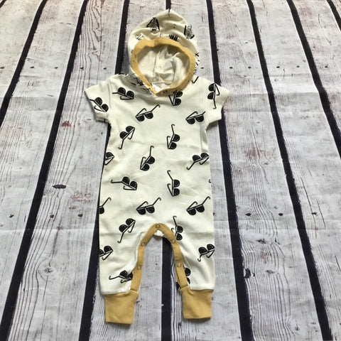 Sunglasses Print Hooded Baby Romper
