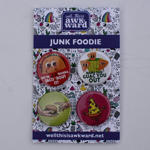 Button pin 4-pack: Junk Food theme