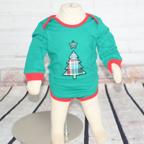 Baby Holiday Onesie - Green with Christmas Tree