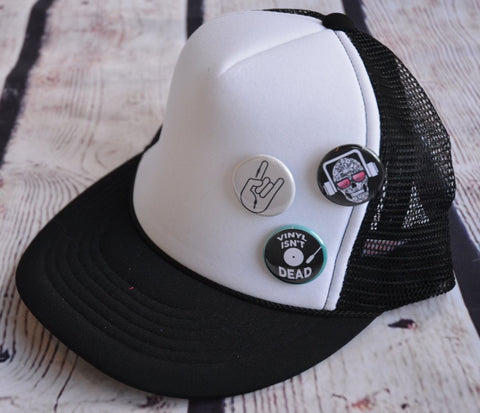 Trucker Hat with Pins: Rock