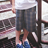 Boys Blue Plaid Shorts, model