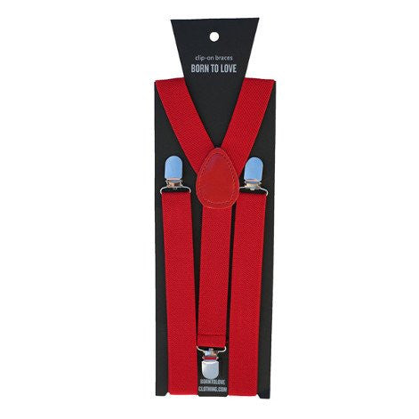 Solid Boys Suspenders, Red