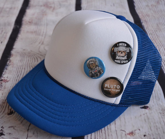 Trucker Hat with Pins: Space