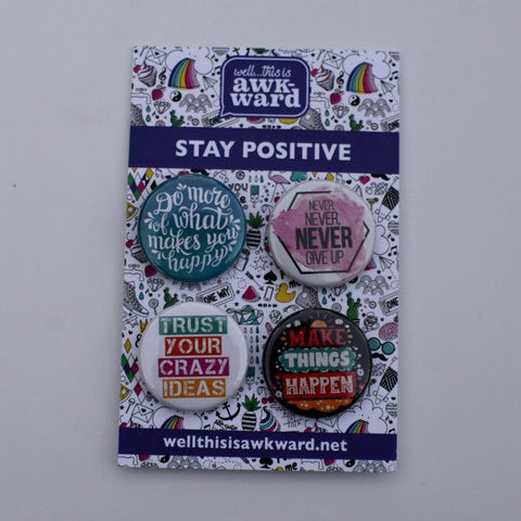 Stay Positive Button Pin 4-pack