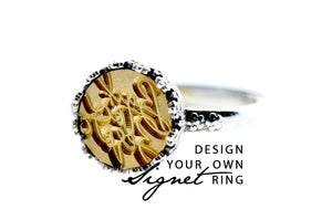 Design your own 10mm Flower Crown Signet Ring - Signet Ring - Backtozero