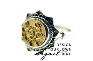 Design your own 10mm Floral Signet Ring - Signet Ring - Backtozero