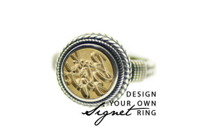 Design your own 10mm Wreath Signet Ring - Backtozero