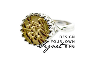Design your own 12mm Crown Signet Ring - Signet Ring - Backtozero