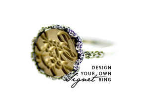 Design your own 12mm Flower Crown Signet Ring - Signet Ring - Backtozero