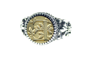 Leafy Initial Signet Ring
