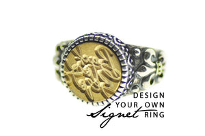 Design your own 12mm Fleur De Lis Signet Ring - Signet Ring - Backtozero