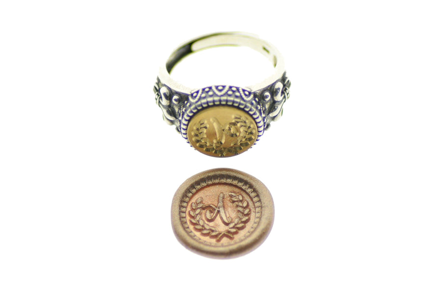 Laurel Wreath Initial Signet Ring - Signet Ring - Backtozero