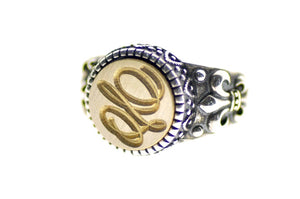 Suzanne Cunningham Calligraphy Initial Signet Ring - Signet Ring - Backtozero