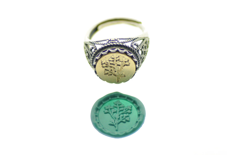 Botanical Signet Ring - Signet Ring - Backtozero