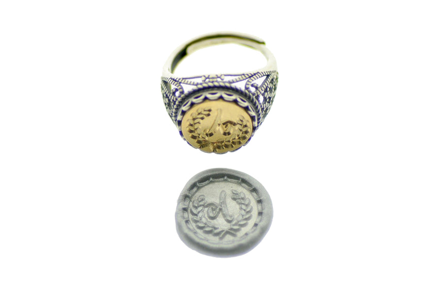 Laurel Wreath Initial Signet Ring