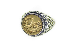 Laurel Wreath Initial Signet Ring - Backtozero