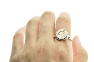 Flamingo Signet Ring - Signet Ring - Backtozero