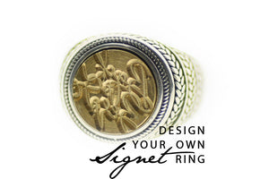 Design your own 12mm Wreath Signet Ring - Backtozero