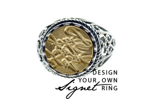 Design your own 12mm Lace Signet Ring - Signet Ring - Backtozero