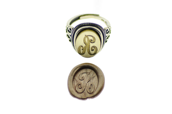 Personalized Calligraphy Initial Oval Signet Wax Seal Ring