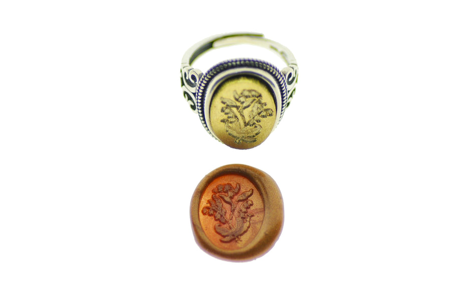Lily of the Valley Signet Ring - Backtozero