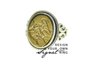 Design your own 12x16mm Filigree Signet Ring - Signet Ring - Backtozero