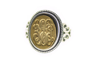 Vine Monogram Signet Ring