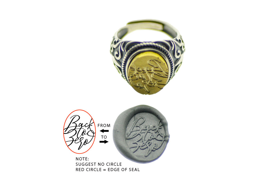 Design your own 12x16mm Fleur De Lis Signet Ring - Backtozero
