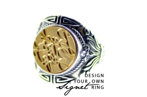Design your own 14mm Floral Wreath  Signet Ring - Signet Ring - Backtozero