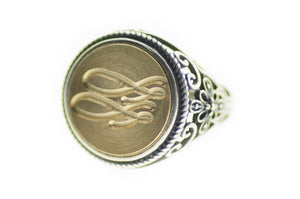Linen & Leaf Modern Calligraphy Initials Signet Ring - Signet Ring - Backtozero