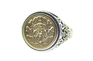 Japanese Kamon Laurel Wreath Signet Ring - Backtozero