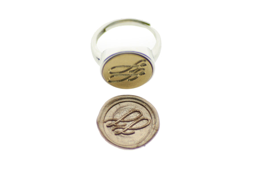 Linen & Leaf Modern Calligraphy Initials Signet Ring