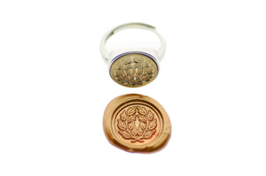 Japanese Kamon Laurel Wreath Signet Ring