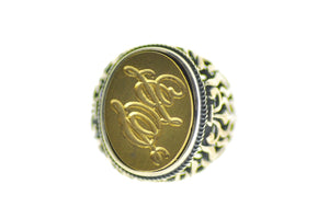 Calligraphy Double Initials Signet Ring - Signet Ring - Backtozero