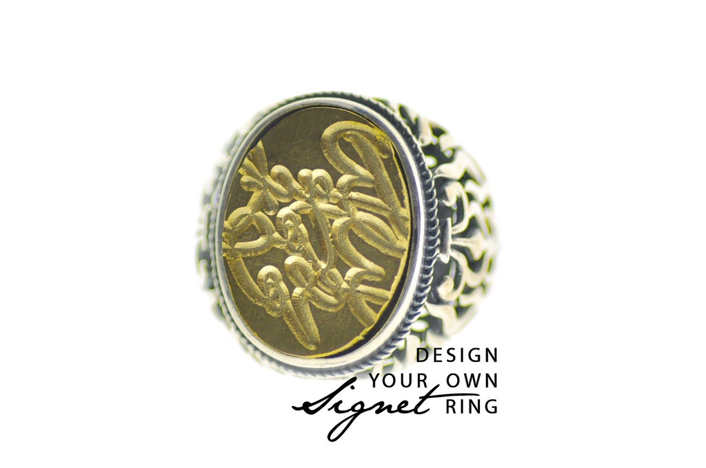 Design your own 15x20mm Flame Signet Ring - Signet Ring - Backtozero
