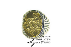 Design your own 15x20mm Fan Signet Ring - Signet Ring - Backtozero