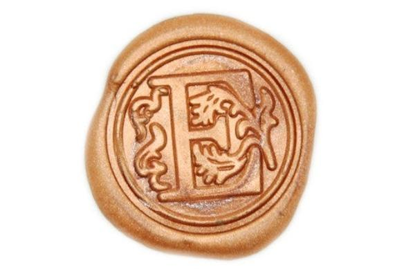 Floral Deco Initial Wax Seal Stamp - Wax Seal Stamp - Backtozero