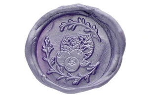 Blueberries Wreath Wax Seal Stamp Designed by Petra - Wax Seal Stamp - Backtozero