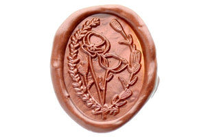 Poppy Wreath Wax Seal Stamp Designed by Petra - Wax Seal Stamp - Backtozero