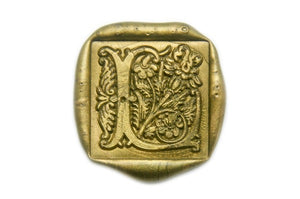 Decorative Floral Initial Wax Seal Stamp - Backtozero