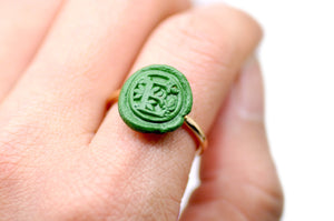 OOAK Leafy Initial Wax Seal Ring - Wax Seal Ring - Backtozero