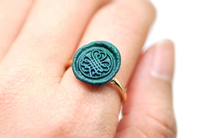 OOAK Shamrock Clover Wax Seal Ring - Wax Seal Ring - Backtozero
