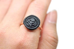 OOAK Skull Bone Wax Seal Ring - Wax Seal Ring - Backtozero