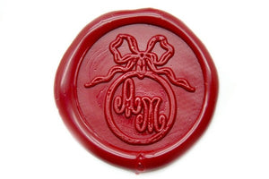 Ribbon Ring Double Initials Wax Seal Stamp - Backtozero