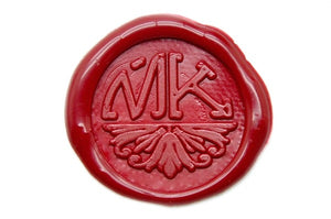 Semicircular Deco Double Initials Wax Seal Stamp, Backtozero  - 1
