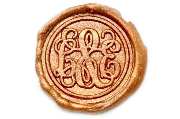 Vine Monogram Double Initials Wax Seal Stamp, Backtozero  - 1